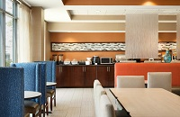 Hotel breakfast room with comfortable seating