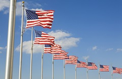 American flags flapping in the breeze
