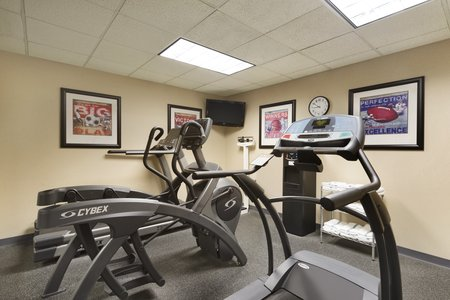 Exercise equipment in hotel fitness center