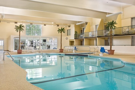 Heated indoor pool area with potted palm trees
