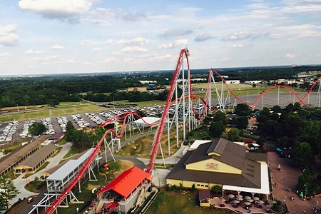 View of roller coaster at Carowinds