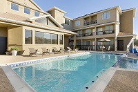 Hotel's outdoor pool in West Fort Worth