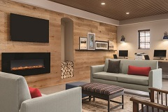 Welcoming hotel lobby with a fireplace and two green sofas