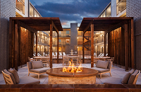 Metairie hotel's veranda with fire pit