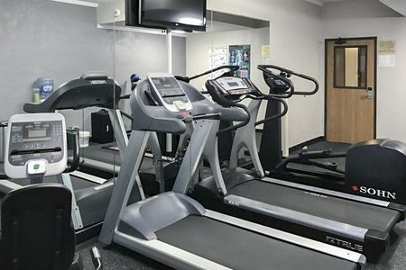 Fitness center with treadmills, elliptical and flat-screen TV