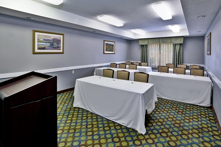 Hotel meeting room arranged classroom style