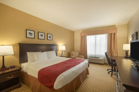 Hotel room with king bed, television and work desk