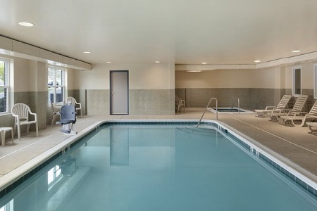 Indoor pool and lounge chairs in Harrisonburg