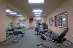 Fitness center with two treadmills, an elliptical and a recumbent bike