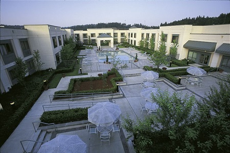 Outdoor pool and courtyard with plenty of seating and umbrellas