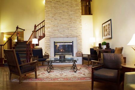 Hotel lobby with rustic armchairs and modern fireplace