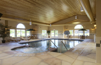 Indoor pool with natural lighting and warm wooden decor