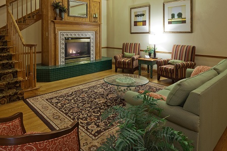 Welcoming hotel lobby with a fireplace
