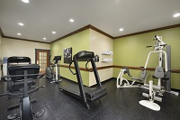 Fitness center with treadmill, weight machine and elliptical