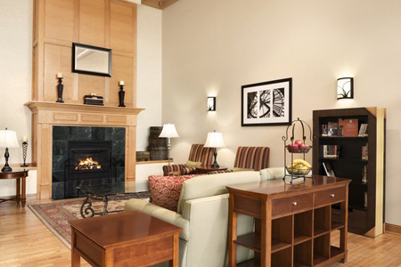 Modern hotel lobby with a fireplace, a bookshelf and couches