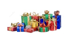 Several gifts wrapped with colorful paper and bows