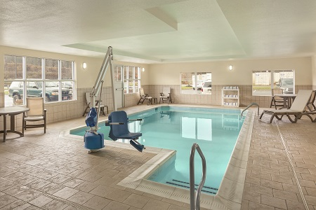 Indoor pool with accessible chair lift