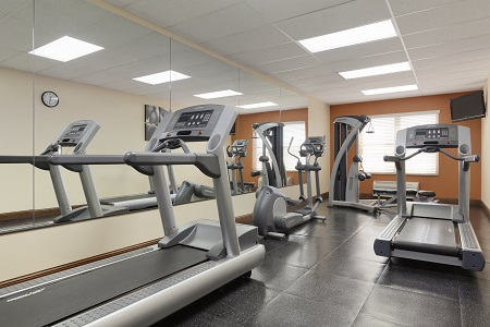 Fitness center with treadmills and other workout equipment