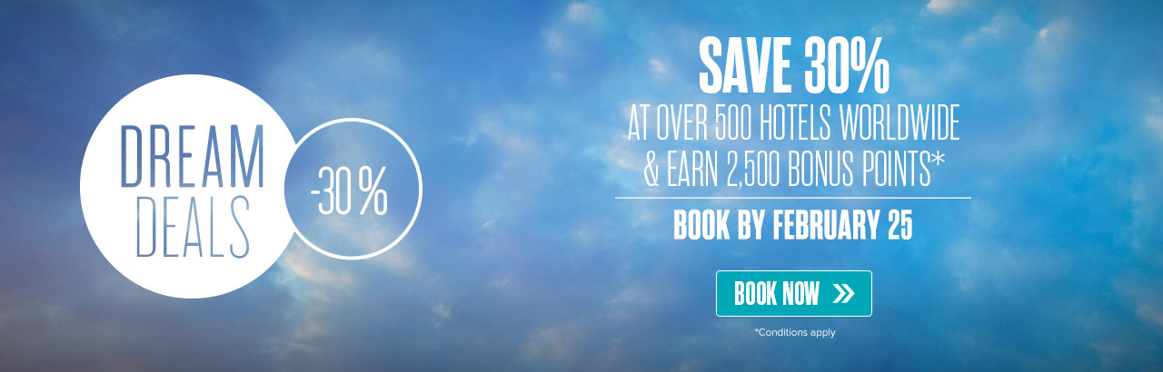 Dream Deals! Save up to 30% on your travel.
