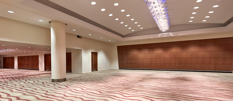 Victoria London conference center with wavy red carpet