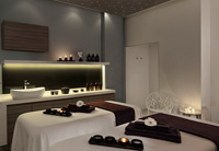 Istrian hotel's relaxing spa with sink and candles