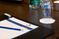 Conference table with notepad