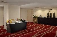 Welcome table with catering at Leeds hotel meeting