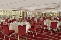 Elegant banquet with a view of downtown Leeds