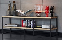 Bookshelf featuring modern lighting and decor