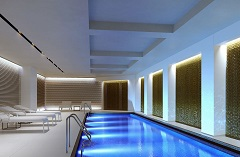 London hotel's indoor pool with underwater lighting