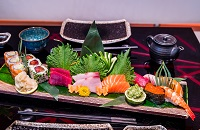 Artistically arranged sushi
