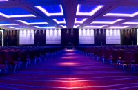 Hotel event space arranged for a conference