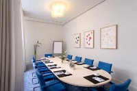 Blue-themed meeting room in Berlin