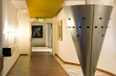 Berlin hotel hallway with art sculpture