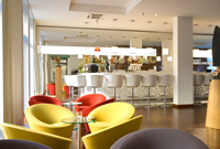 Berlin hotel lobby with colourful furnishings