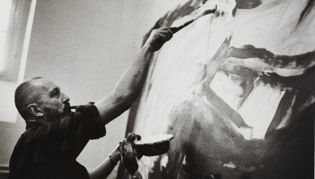 Georg Baselitz working on painting