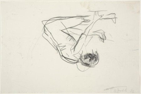 Sketch of upside-down person by Georg Baselitz