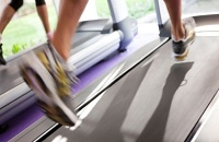 Running shoes on a treadmill in Istrian hotel