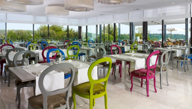 Adriatic Sea hotel restaurant with colourful seats