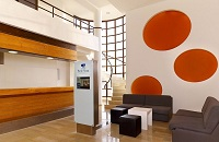 Verudela resort lobby with polka dot art on the walls