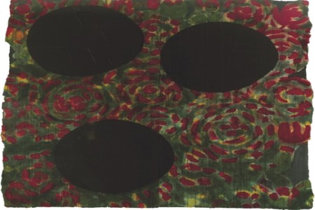 Donald Sultan painting with dark colours and egg shapes