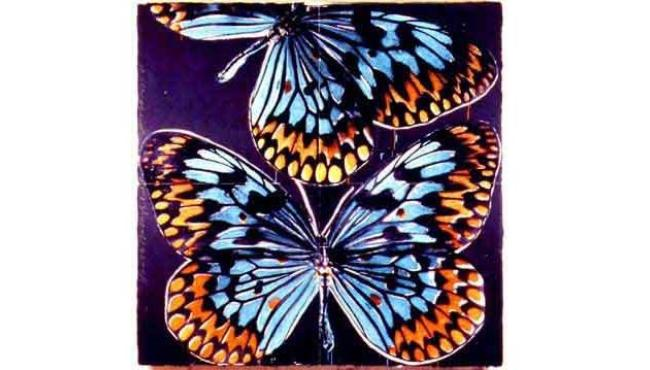 Donald Sultan artwork featuring colourful butterflies