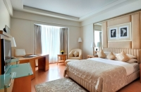 Hotel room with large bed, TV and desk