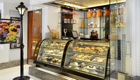 Pastry case filled with desserts