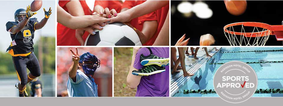 Football, baseball, soccer and basketball players in sports collage