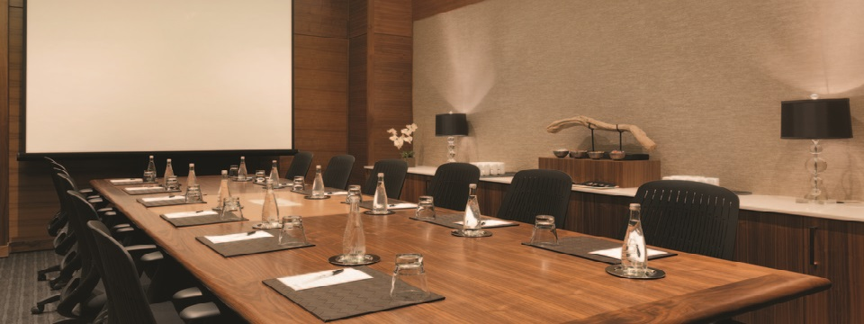 Boardroom with table and projector screen