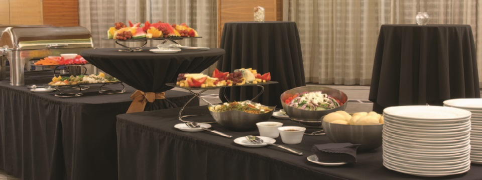 Event buffet with fruit and other snacks
