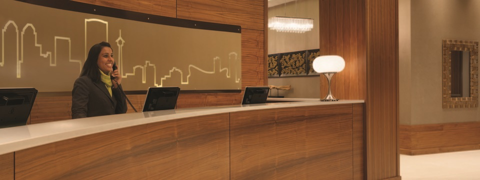 Reception desk in lobby