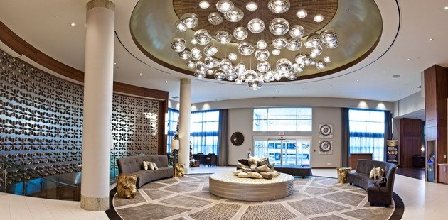 Lobby with trendy light fixtures and seating