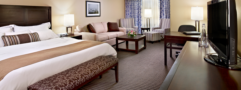 Hotel room with king bed, seating area and desk